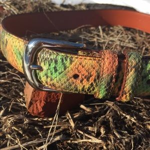 Accessories - Neon rainbow faux snakeskin belt.